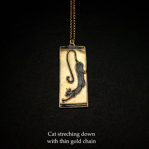 Cat art deco necklace down thin chain