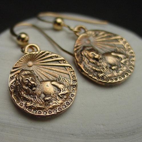 Lion with sun coin earrings