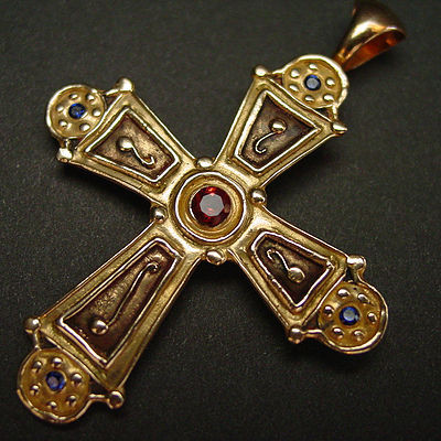 Byzantine Cross (with garnet & sapphires)
