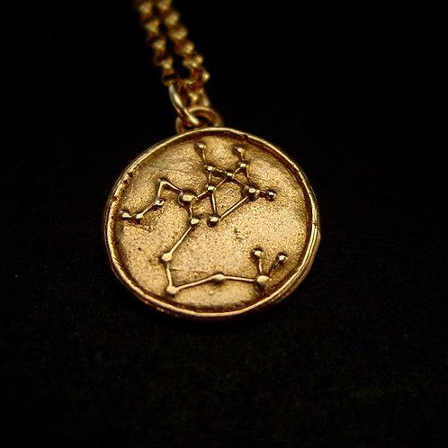 Sagittarius constellation necklace close up