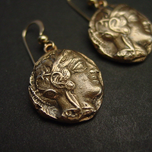 Athena greek coin earrings
