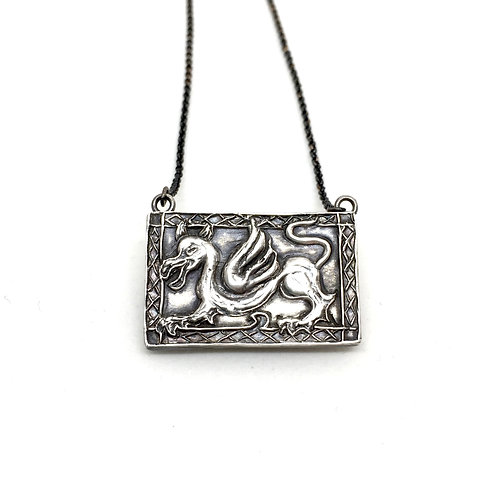 Welsh Dragon silver necklace- Hand carved