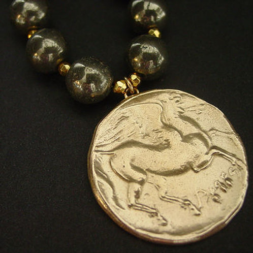 Large Pegasus coin - Necklace with Golden Pyrites