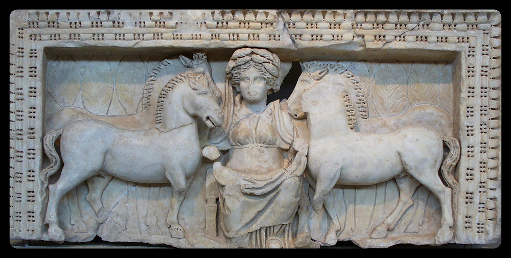 A relief of Epona, flanked by two pairs of horses, from Roman Macedonia.