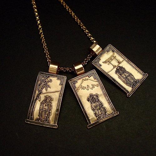 Three Wise Monkeys pendant with medium gold chain
