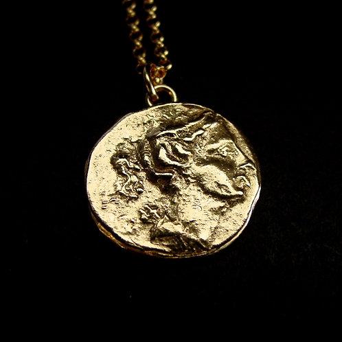 Artemis coin necklace close up