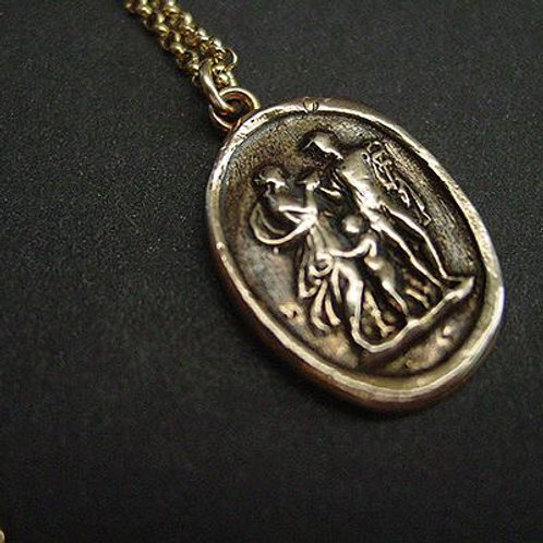 Hermes, Aphrodite and baby boy cameo necklace