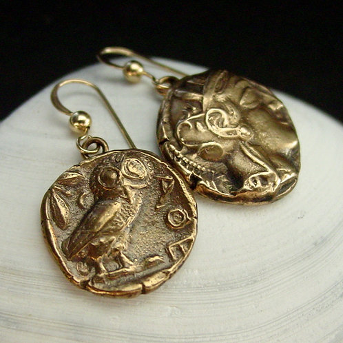 Owl and Athena earrings