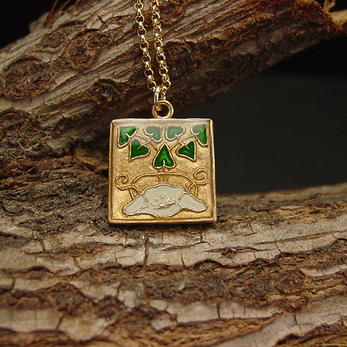 Water lily necklace on branch