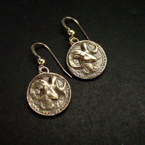 Antiqued Aries earrings