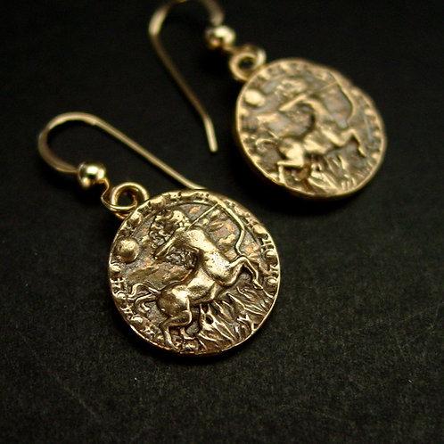 Sagittarius small antiqued earrings