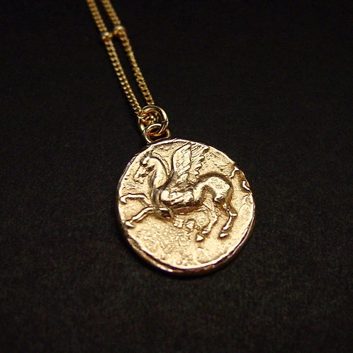 Small Pegasus Greek coin necklace close up with satelite chain