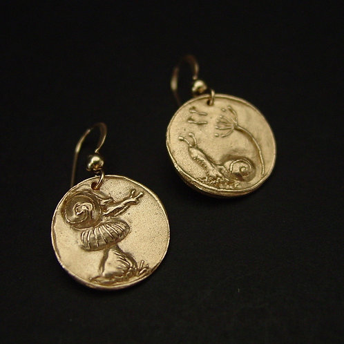 Snail coin earrings