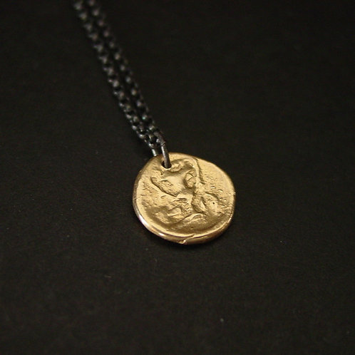 Kantharos | Wine drinking cup tiny Greek coin necklace | Black and gold