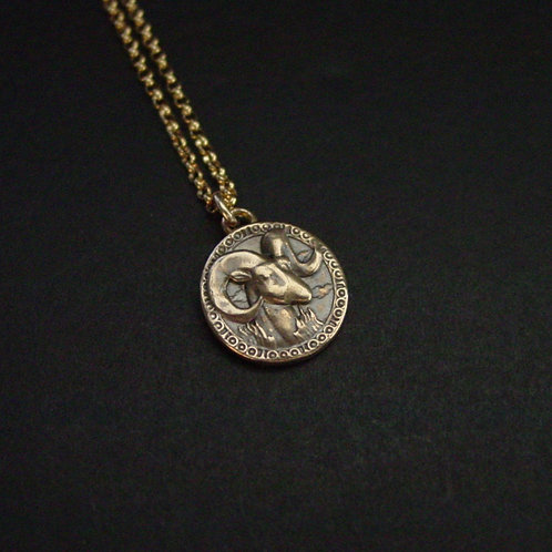 Antiqued Aries necklace