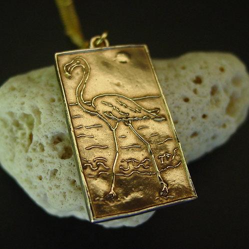 Flamingo necklace close up