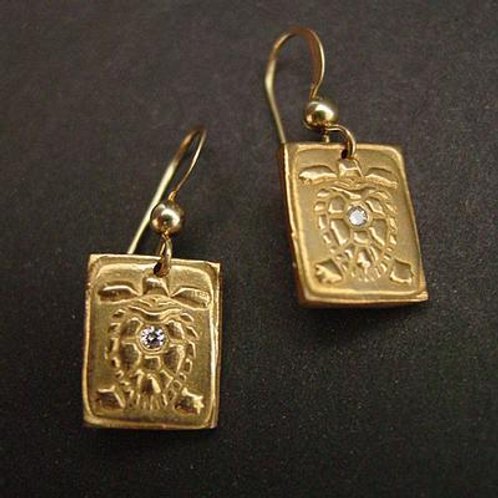 Sea Turtle square earrings