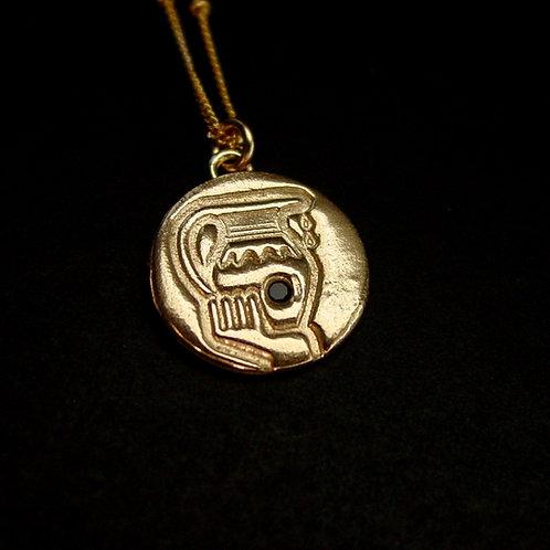 Aquarius with stone necklace close up