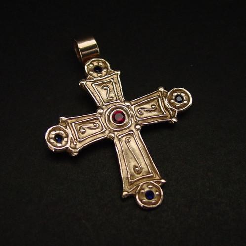 Medium Byzantine Cross with garnet and sapphires - Byzantine Jewelry