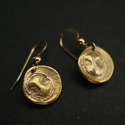 Mini Spartan Shield coin earrings