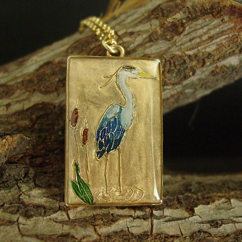 Heron necklace on branch