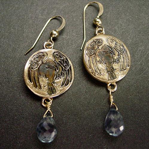 Raven   Crow earrings with blue quartz