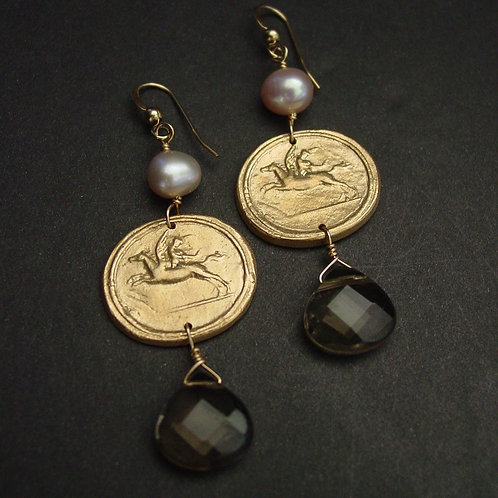 Eros riding Pegasus earrings