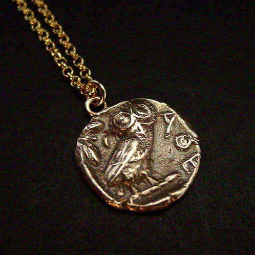Owl Greek coin necklace