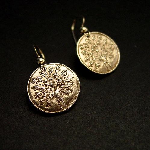 Small peacock earrings