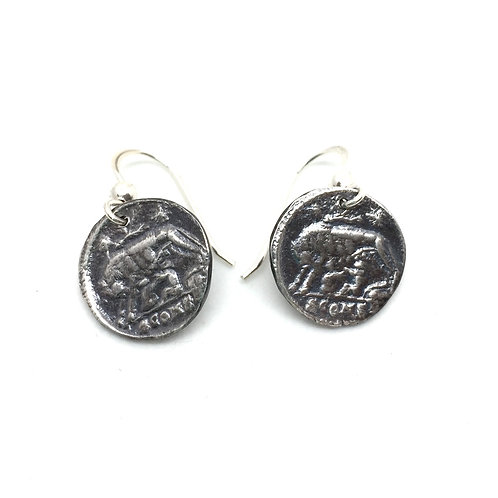 Remus & Romulus Coin - Silver Earrings