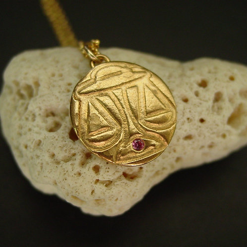 Libra necklace on coral