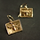 Bee square earrings with golden topaz