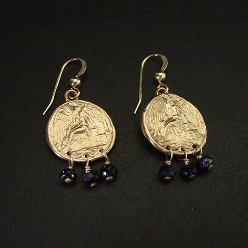 Nike coin earrings with blue goldstones