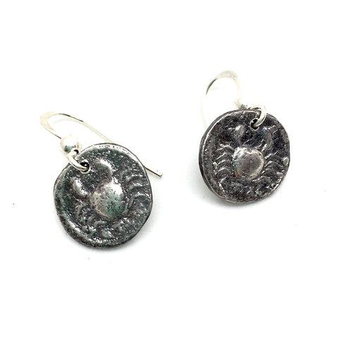 Crab roman coin earrings silver