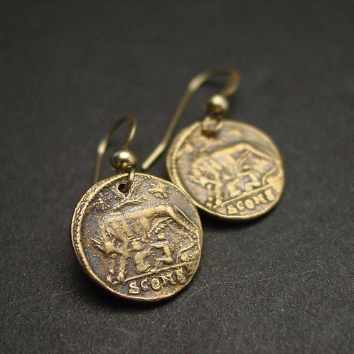 Remus and Romulus coin earrings