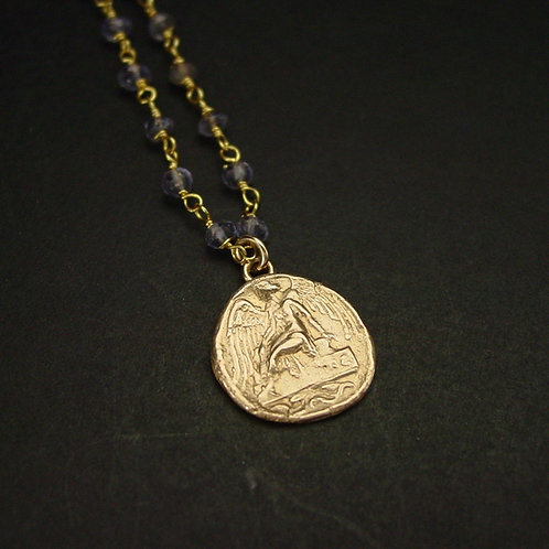 Nike coin necklace with iolite