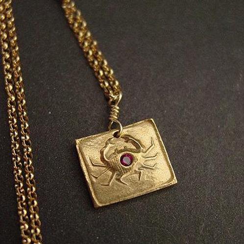 Crab square necklace