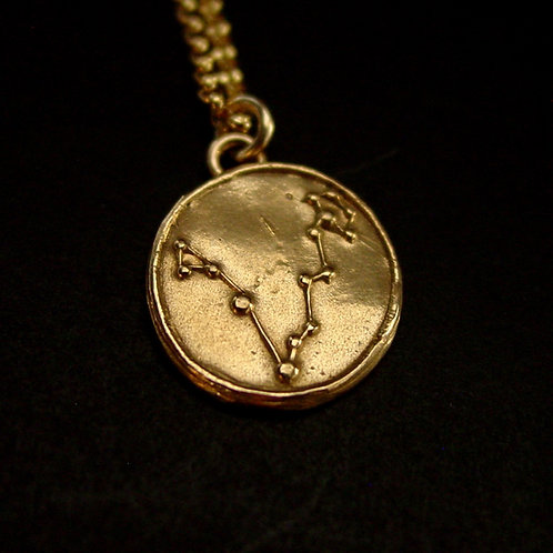 Pisces constellation necklace close up