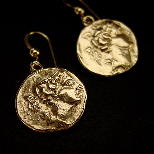 Artemis coin earrings close up