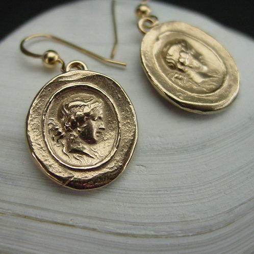 Demeter Earrings   Ceres Cameo Intaglio Earrings