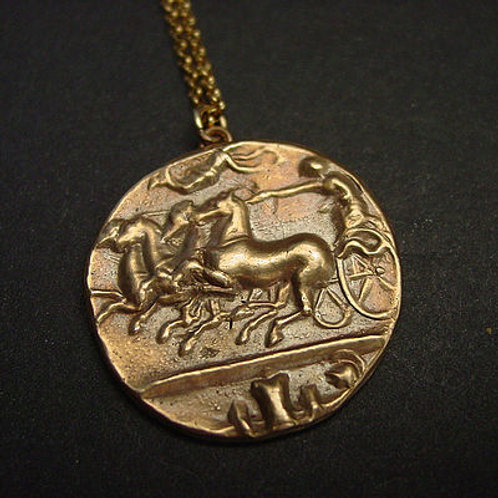 Charioteer Greek coin necklace