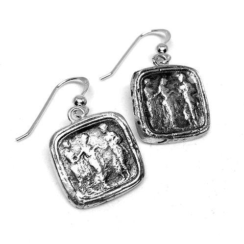 Penelope silver square earrings