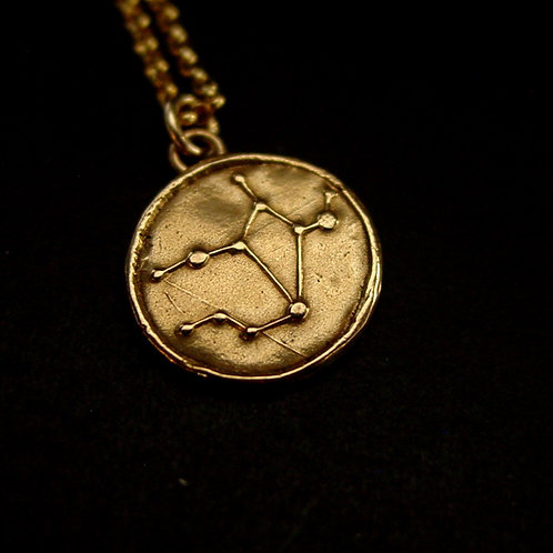 Virgo constellation necklace close up
