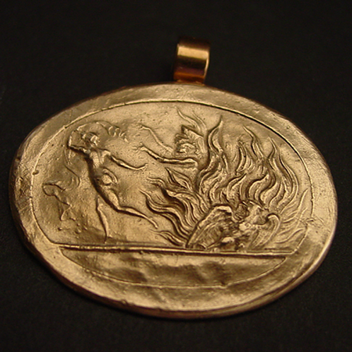 Hades capturing Persephone cameo pendant