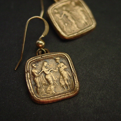Penelope and odysseus square cameo earrings