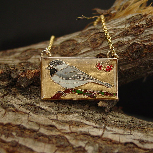 Chickadee bird necklace on branch