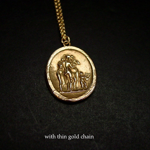 Three Graces and Eros necklace thin chain