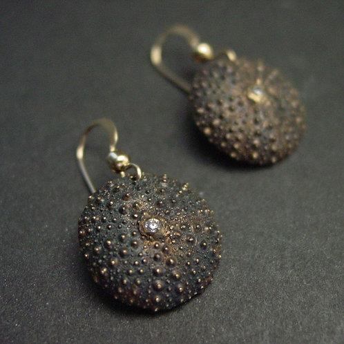 Baby Sea Urchin earrings - dark