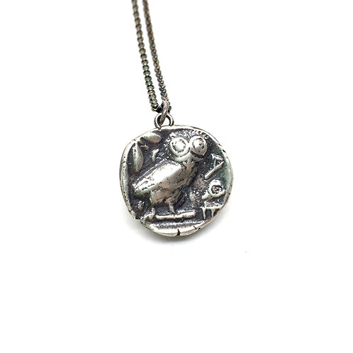 Owl silver necklace
