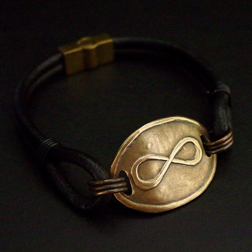Infinity leather bracelet for men